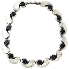 Antonio Pineda .970 Onyx and Silver Necklace