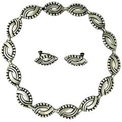 Hector Aguilar Sterling Silver Link Necklace and Earrings Set