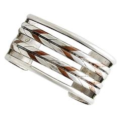 Early William Spratling Copper & Sterling Silver Cuff Bracelet 1940