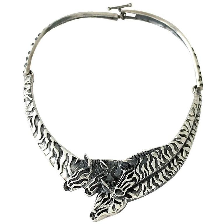 Superb Emilia Castillo Sterling Silver Exotic Zebras Motif