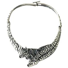 SUPERB Emilia Castillo Sterling Silver Exotic Zebras Motif Necklace 1990