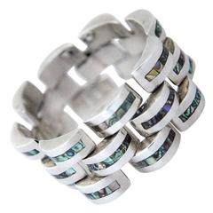 Gerardo Lopez Inlaid Abalone & Sterling Silver Escalloped Link Bracelet 1960