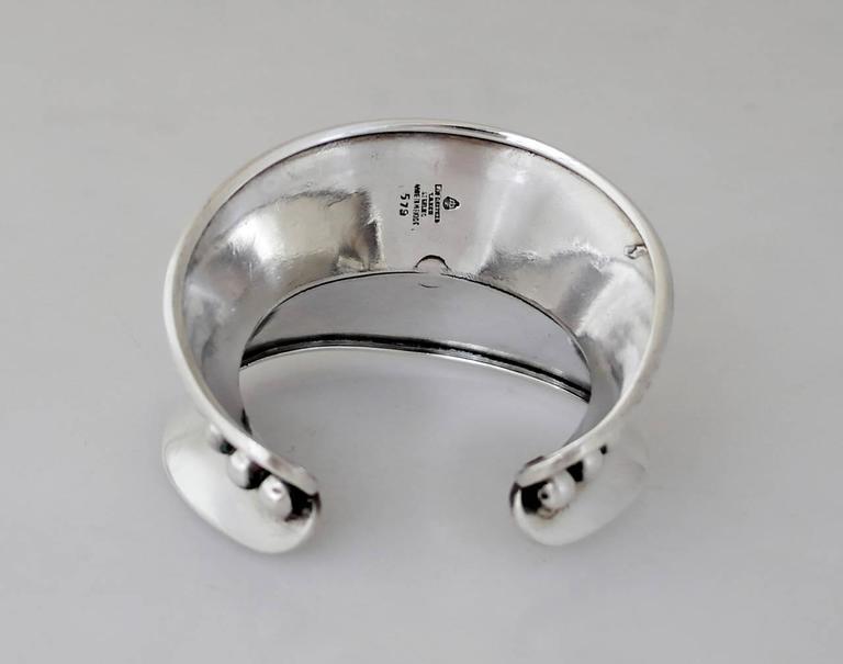 Los Castillo Wide Sterling Silver Cuff Bracelet W Applied