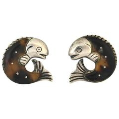 Rare William Spratling Sterling Silver Shell Fish Motif Earrings 1945