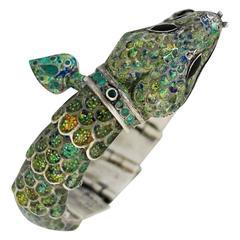 SNAKE MOTIF Margot De Taxco Enamel Sterling Silver & Enamel Snake Bracelet 1955