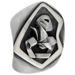 Salvador Teran Sterling Silver Brutalist Pin
