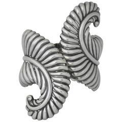 RARE HEAVY Los Castillo Sterling Silver Cuff Bracelet