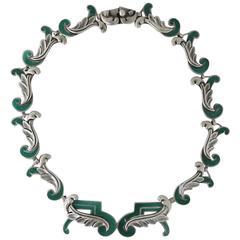 Margot De Taxco Enamel Sterling Silver Necklace