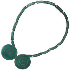 Margot de Taxco Sterling Silver Enameled Link Bracelet