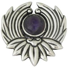 Los Castillo Sterling Silver and Amethyst Brooch