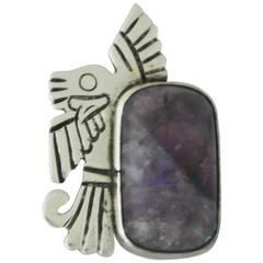 William Spratling Amethyst Sterling Silver Eagle Brooch 2nd Brooch Available