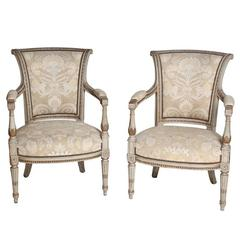 Pair of 19th Century Louis XVI Style Painted and Gilt Fauteuils