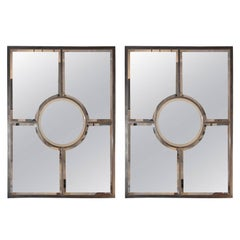 Pair of Solid Brass Beveled 'Quadrature' Mirrors by Design Frères