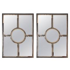 Pair of Solid Brass Beveled Quadrature Mirrors by Design Frères