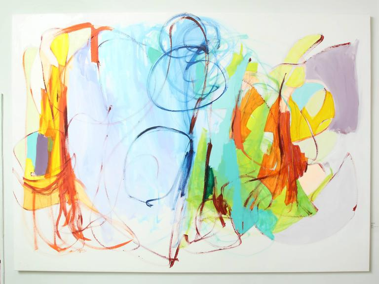Tolomei uses her mastery of colors to create powerful abstract compositions. Her bold expressive brush strokes and fields of colors fills the canvas while the vibrant color combinations give her works power. All her paintings are filled with energy,