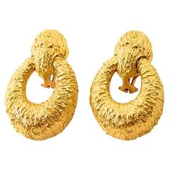 Boris LeBeau 18 Karat Gold Oval Door Knocker Earrings