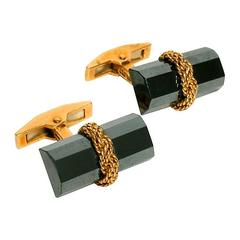 Tiffany & Co. Hematite and 18 Karat Gold Baton Cufflinks