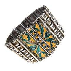 Chinese Enamel Silver Cuff Bracelet