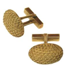 Tiffany & Co. 18 Karat Gold Basketweave Cabochon Cufflinks