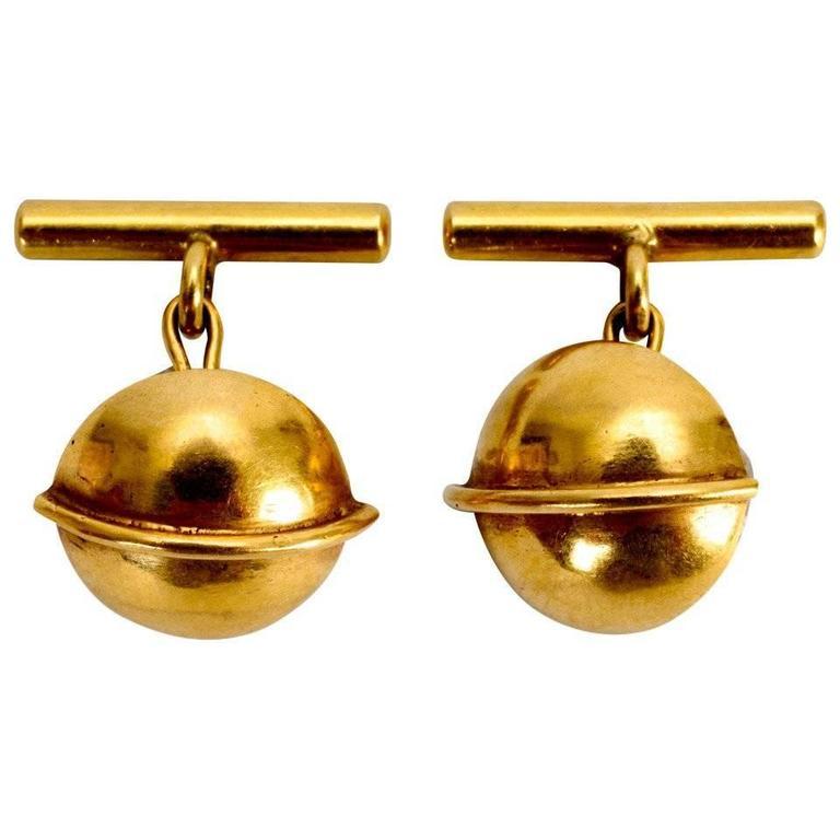 Art Deco 14 Karat Gold Saturn Cufflinks For Sale