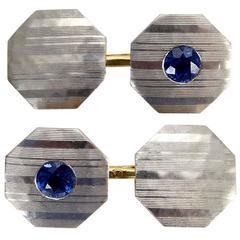 Blue Sapphire, Platinum and 18 Karat Yellow Gold Art Deco Cufflinks
