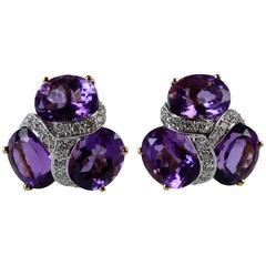 Three Stone Amethyst Diamond Gold Earrings