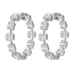 Impressive Diamond White Gold Hoop Earrings