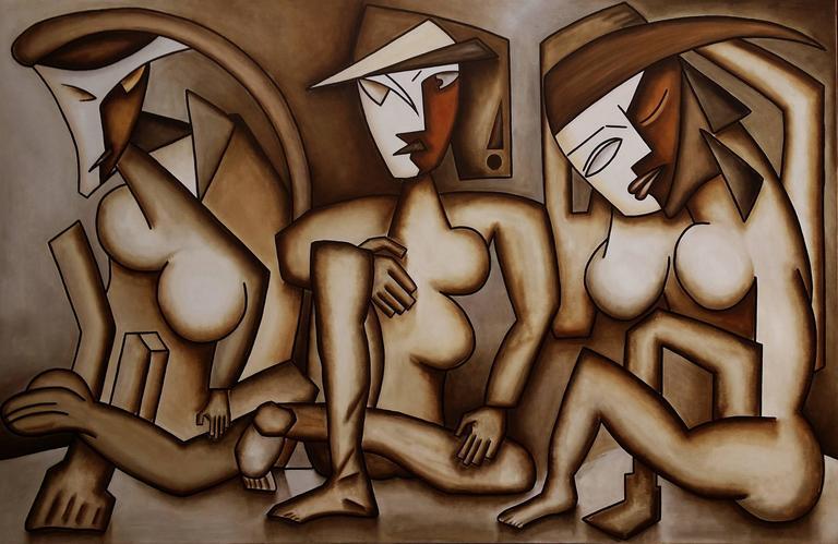 Alain Beraud Figurative Painting - Mistere feminine