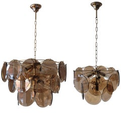 1970's smoke glass chandeliers by Vistosi  brass and glass
