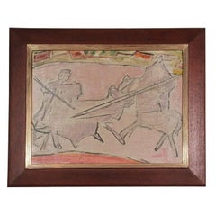 "Mid-Century Modernist ""The Bull Fight"" Oil Painting"