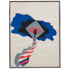 Mid-Century Modern Pop Art Print by Allen Jones in Black & Electric Blue/Red
