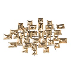Mid Century Modern Brutalist Wall Sculpture with Torch Cut Patinated Brass