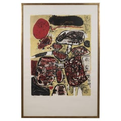 """""""Le Soleil Rouge"""" Lithograph Printed in Colors, 1963"""