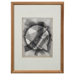 "Futurist Abstract Drawing ""Fortunate 98"" in Pencil and Charcoal, 1997"