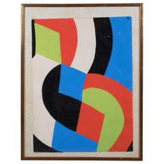 """Sonia Delaunay """"Untitled"""" Lithograph Printed in Colors, 1961"""