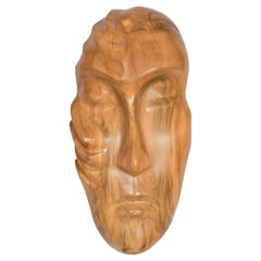 Mid-Century Modernist Hand Sculpted Mask in Exotic Wood