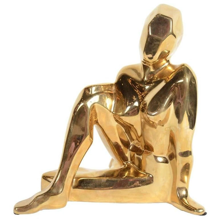 Mid-Century Modernist Ceramic Gold-Plated Crouching Woman Sculpture by Jaru