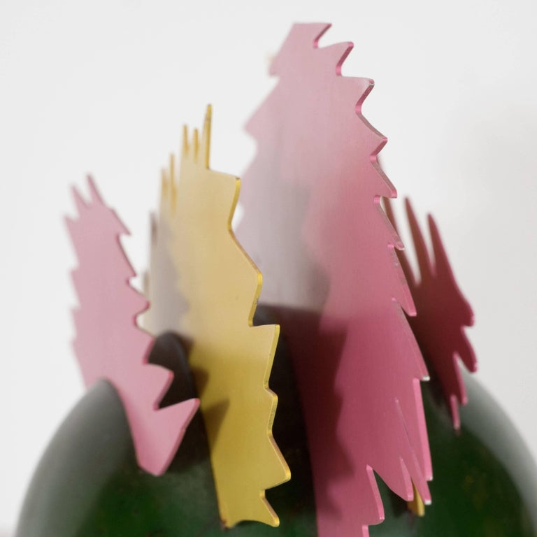 Enameled Resin and Metal Pop Art Sculpture in Sunflower Yellow, Bubble Gum Pink For Sale 1