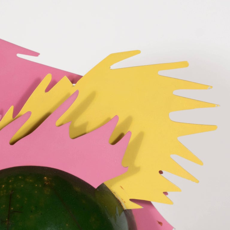 Enameled Resin and Metal Pop Art Sculpture in Sunflower Yellow, Bubble Gum Pink For Sale 3