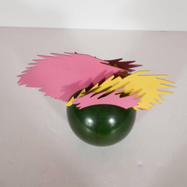 Enameled Resin and Metal Pop Art Sculpture in Sunflower Yellow, Bubble Gum Pink For Sale 5