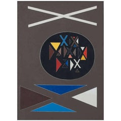 """Excellence"" abstract oil painting on canvas by Richard Filipowski, 1951"