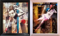 """""""Monkey Business"""" and """"Elephant Woman"""" Diptych Mixed Media on board/Framed, 2014"""