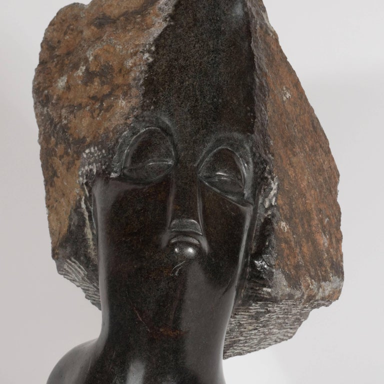 Mid Century Modern Abstracted Figurative Bust in Black Marble For Sale 1