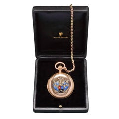 Pavel Buhre Yellow Gold Quarter Repeating Pocket Watch with Enamel Crest