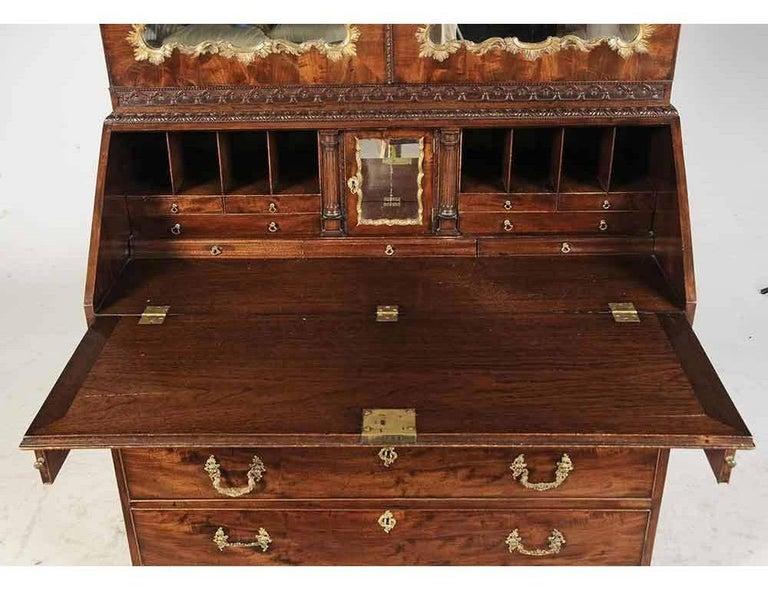 English Period Chippendale Figured Mahogany Secretary Bookcase, circa 1765 For Sale