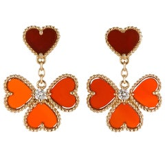 Van Cleef & Arpels Diamond Carnelian Sweet Alhambra Effeuillage Earrings