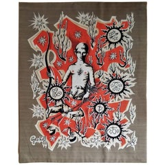 'Le Sagitaire' Zodiac Signs Themed Tapestry by Elie Grekoff, France, 1960s