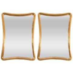 Pair of Giltwood Wavy Mirrors