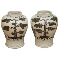 Pair of Black and White Chinese Export Jars