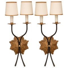 Pair of Gilt Iron Sconces